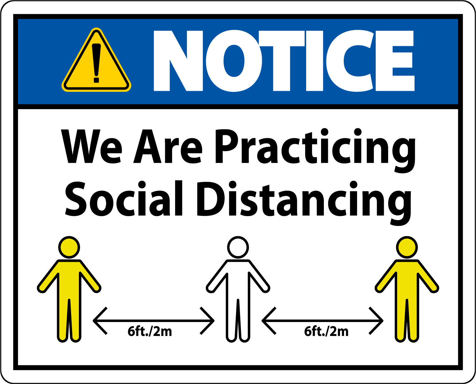 Social distancing measures Sign Vinyl sticker Office Virus Warning Door notice