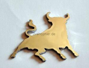 Stier-Bulle-Chrom-Emblem-Logo-Chromlogo-3D-Aufkleber-Schild-Klebeschild-NEU