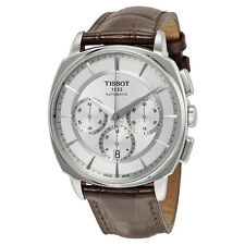 Tissot T-Lord Automatic Chronograph Silver Dial Brown Leather Mens Watch T059527