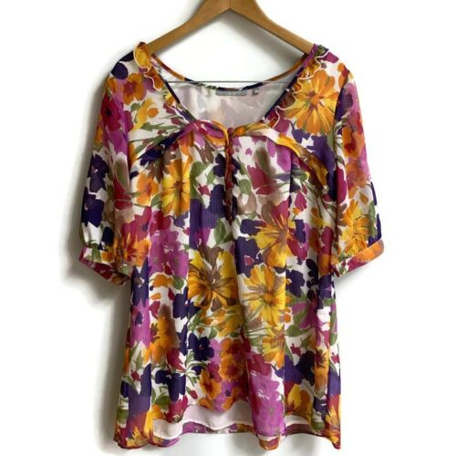 NY COLLECTION Womens 1x Flowery Floral Blouse Purp