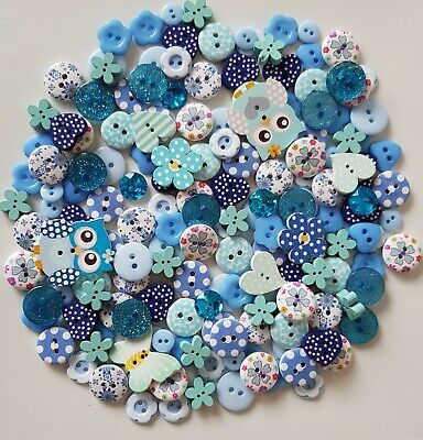 150 Stunning Quality Blue Wood /& Resin Buttons Sewing Scrapbooking Craft DIY