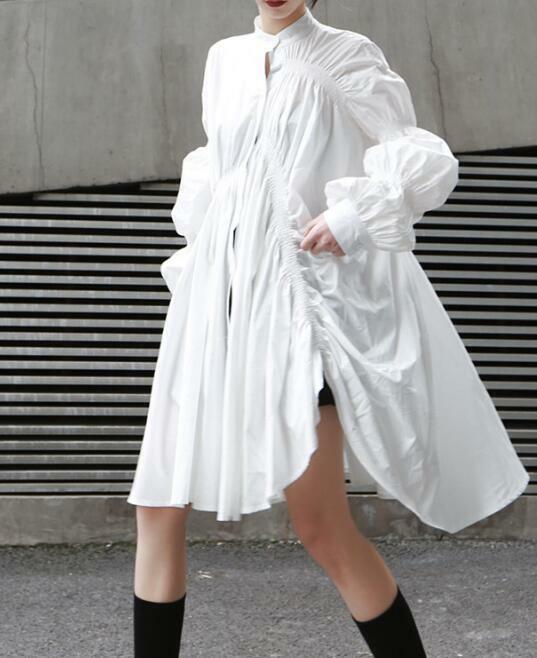 Womens Irregular Loose Bell Sleeves Shirt Dress Fashion Oversize Skirt Tops H637