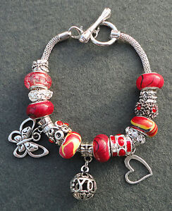 Red-Rhinestone-Silver-Plated-European-Style-Dangle-Charm-Bracelet-Toggle-Clasp