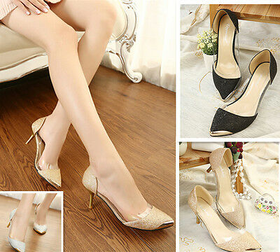New Elegant Womens Wedding Bride Party Shoes Pumps Shinning High Heels Metal Toe