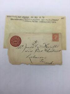 1891 3 Cent Stamp Envelope Janus L Knoll Lebanon PA Backstamped