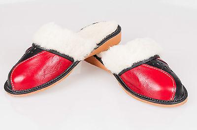 Las mujeres `s/ladie `s Hecho A Mano Cuero Natural calentado Zapatillas Tamaños Reino Unido 3,4,5,6,7,8