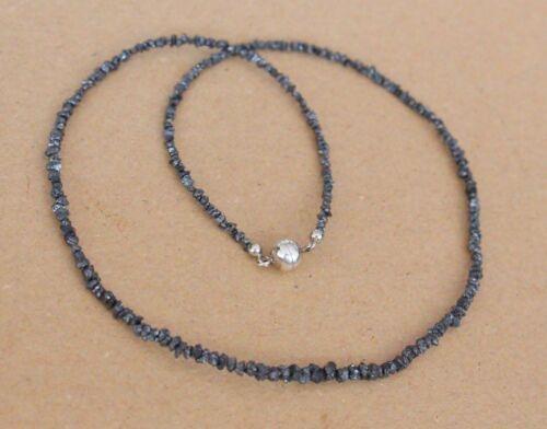 Roh-Diamant Edelstein kette HP-5 Magnetverschluss,schwarz 45 cm,2-3 mm