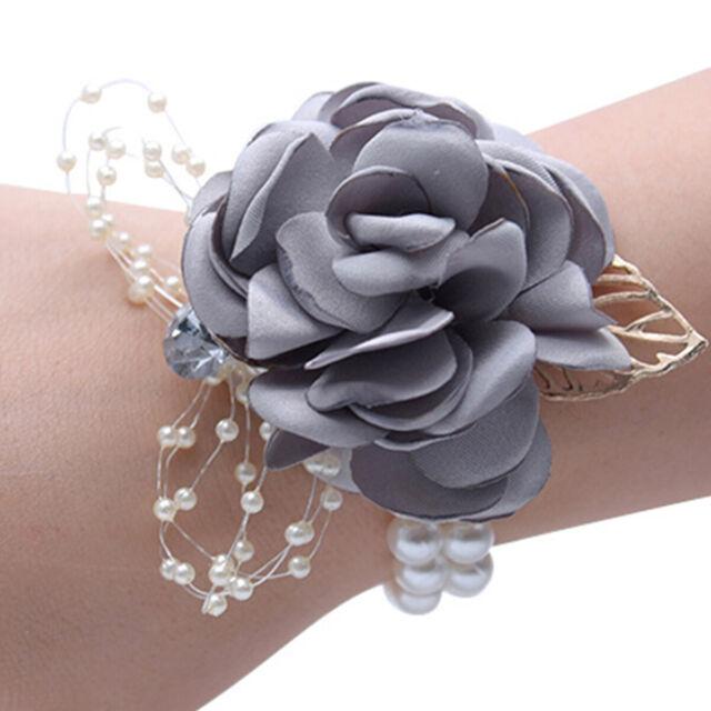 Women Bridesmaid Wedding Bridal Prom Wrist Corsage Hand Flower Bracelet New
