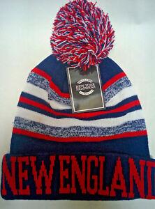 04fa7ba16328da New England Patriots Team Color Sideline Replica Pom Pom Knit Beanie ...