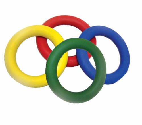 Dog Toy Rubber Ring Solid 6 Inch Hard Wearing Tough Fetch throw toy 4 Colours