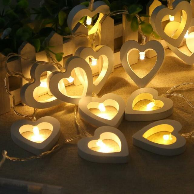 Warm White 10 20 Led String Fairy Lights Lamp Heart Wooden Xmas Christmas Party