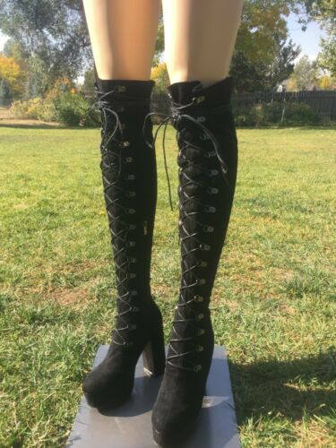 Top Show black over knee thigh high chunky heel pl