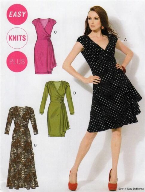 McCalls M6713 SEWING PATTERN 8-16 Vintage/Retro Wrap Look EASY Knit Wiggle Dress