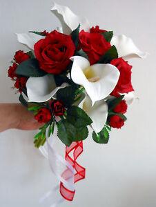 Details Sur Bouquet De Mariage Posy Blanc Calla Trouve Roses Rouge Afficher Le Titre D Origine