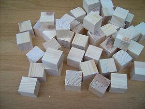 """Wooden cubes 50x Wood cubes blocks.25mm 1/"""" BEECH not Birch"""