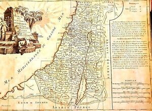 Antique-1770-039-s-map-of-tribe-of-Israel-Carte-des-Douze-Tribus-d-039-Israel-by-Bonne