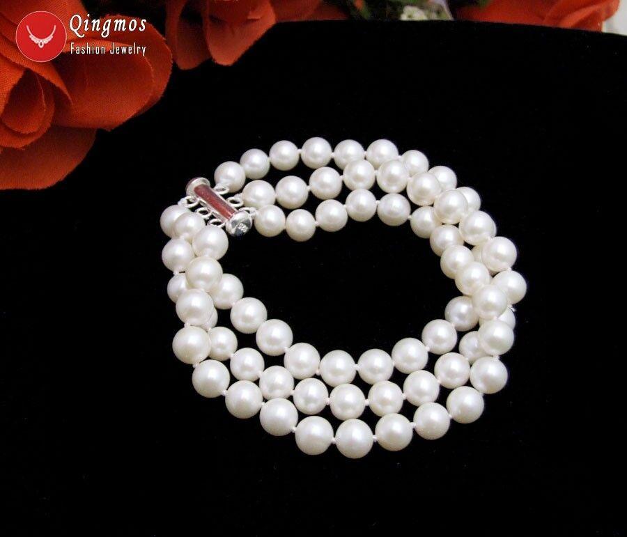 Trendy AAA 6-7mm Round White Akoya Pearl 3 Strands Bracelet & S925 Clasp -bra140