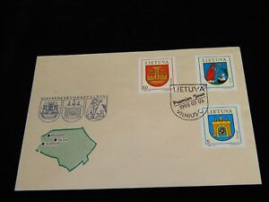 Vintage-Cover-VILNIUS-LITHUANIA-FDC-1993-Multi-Stamped-National-Coat-Of-Arms-Map
