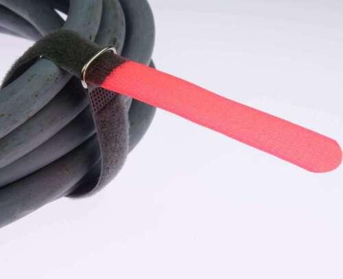 40 x Kabelklett Klettband 300 x 20 mm neon rot FK Klett Kabelbinder Klettbänder