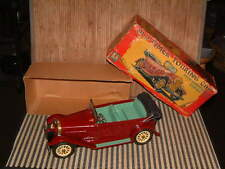 SSS OLD TIMER TIN TOURING CAR, FRICTION, REMOVABLE CANVAS TOP W/ORIGINAL BOX.