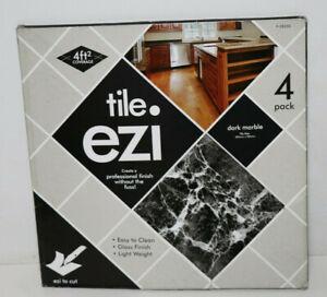 4 Stück Stalwart Adhesive Floor Tiles Dark Marble Effect Hindernis Entfernen