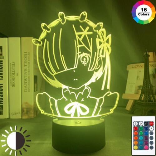 Anime Rem Re Zero Figure Night Light Led Touch Sensor Color Changing 3D