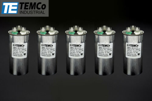 TEMCo 35//5 MFD uF Dual Run Capacitor 370 440 vac Volts 5 LOT AC Motor HVAC 35+5