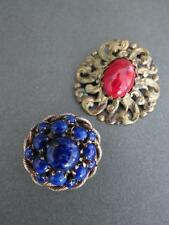 Vintage Peking Glass Aventurine Brooches Job Lot of 2