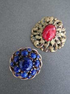 Vintage-Peking-Glass-Aventurine-Brooches-Job-Lot-of-2