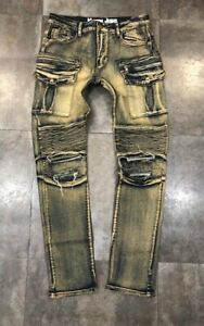 NEW-MEN-FASHION-DENIM-BIKER-SLIM-FIT-JEANS-SAND-INDIGO