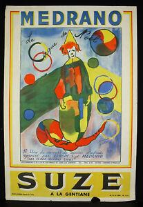 Affiche Originale Cirque De Noêl De Medrano Suze C1980 Publicité Circus Clown
