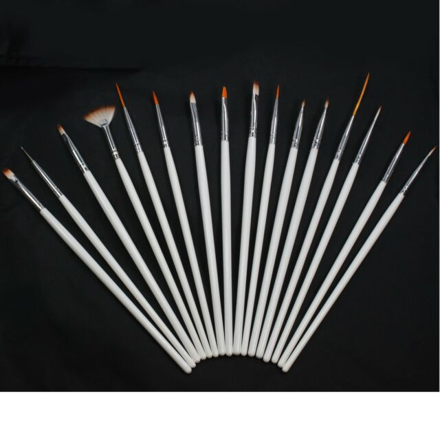 16 Pcs White Nail Art Pen Brush Drawing Acrylic Sable Painting for Tip Tools Set