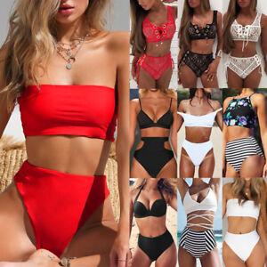 aa7d6f2a8 Plus Size Women High Waist Padded Bikini Set Push Up Swimsuit Beach ...
