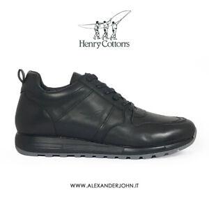 Henry-Cotton-039-s-Scarpe-Calzature-Uomo-Sneakers-Beylor-182-m-540-Pelle-Nero-Black