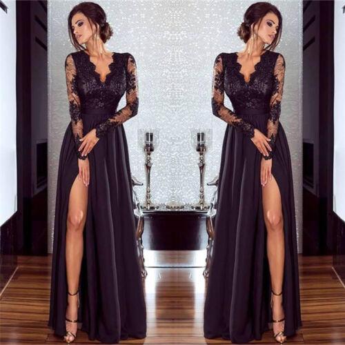 Dentelle manches longues robe de soirée Cluewear robe de bal robe de fete noir immédiatement Li bc465