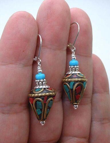 Qualität Nepal Türkis Koralle mit Türkis Sterling Silber Ohrringe A0716