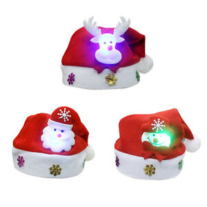 Hot Kids & Adult & LED  Christmas Hat Santa Claus Reindeer Snowman Xmas Gift Cap