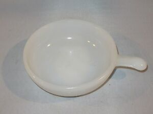 Vintage McKee Glasbake MILK GLASS HANDLED Soup Bowl - Made in USA ...