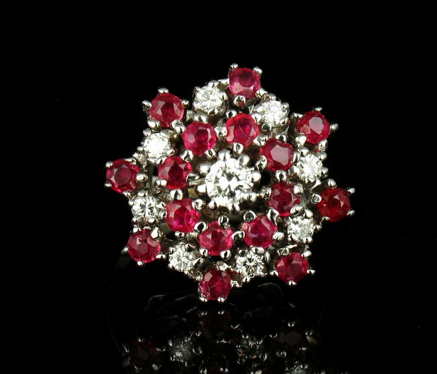 VINTAGE NATURAL 2.41ctw BURMESE RUBY & DIAMOND 14K WHITE gold LARGE CLUSTER RING