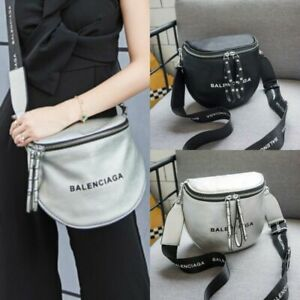 Details about UK Women Balenciaga² Bag Leather Messenger Bucket Handbag Flat top Cosmetic Bags