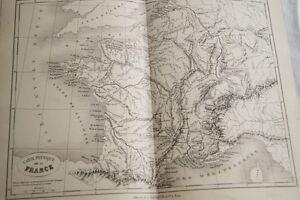 CARTE-ANCIENNE-COULEURS-FRANCE-PHYSIQUE-1865-ATLAS-BOUILLET-R661