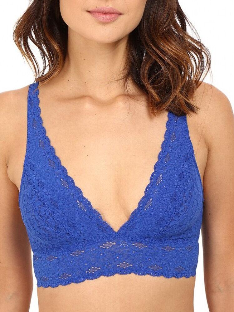 (40) Wacoal Halo Lace Bralette Plongeant Top 811205 Soft Cup J Hook-bleu