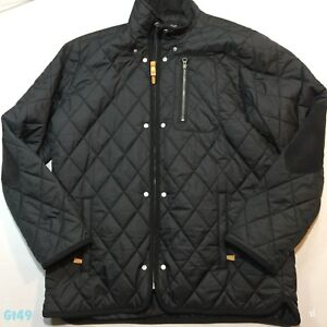 757ff44cd Details about Mens Quilted Black Jacket Coat Avenue Size XL P-P 24