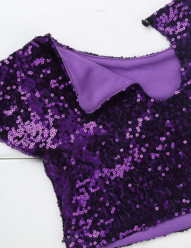 Cap Sleeves Girls Sparkly Sequins Crop Top Daily Wear Dance Performing Costumes