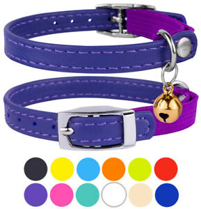 Leather-Cat-Collar-Safety-Kitten-Collars-with-Elastic-Strap-Bell-Pink-Black-Blue