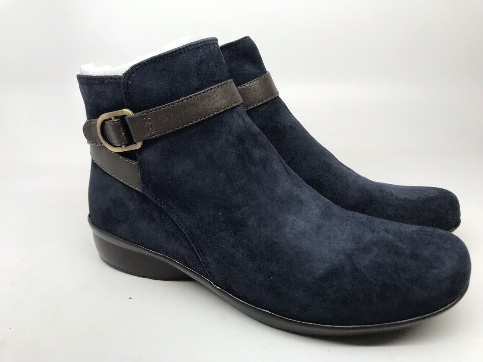Naturalizer Womens Cassandra Navy Suede Ankle Boot Flat Comfort Size 8.5 M NEW