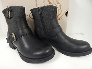 B.O.C. Born Gates Black Ankle Boots Z20903 Leather/Fabric Upper ...