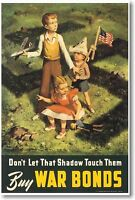 Don't Let That Shadow Touch Them - Buy War Bonds - Vintage Ww2 Art Poster