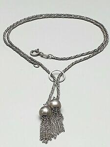 Art-Deco-Silber-Collier-835-Silber-punziert-30er-40er-Jahre-Quasten-Abhaengung-F4