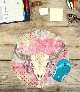 Boho-Bull-Round-Mouse-Pad-Easy-Glide-Non-Slip-Neoprene